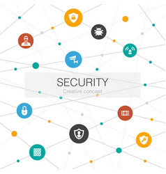 security trendy web template with simple icons vector image