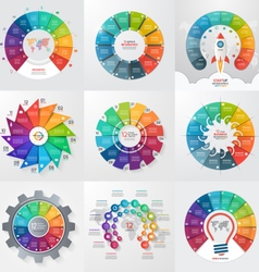 Set of 9 circle infographic templates 12 options vector