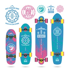 Set of outline emblems on longboard vector image vector image