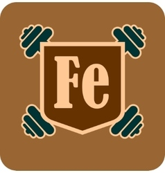 Shield with fe text and dumbbells vector image
