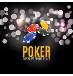 Shining Casino Poker Banner Poster Show spotlight vector