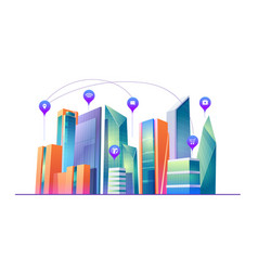 smart city with wireless communication technology vector image