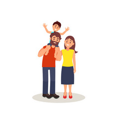 smiling parents standing together little son vector image