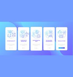 Social change benefits onboarding mobile app page vector