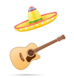 Sombrero national mexican headdress and guitar vector