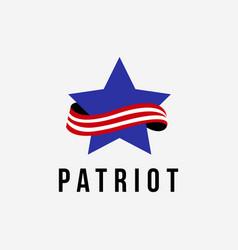 star and ribbon strip patriotic logo icon vector image
