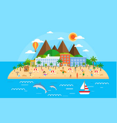 summer vacation on sea banner bright travel vector image