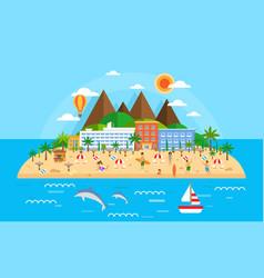 Summer vacation on sea banner bright travel vector