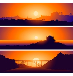 Sunsetting Over Landscapes Set vector