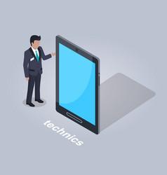 Technics businessman and tablet vector