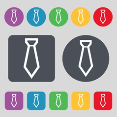 Tie icon sign A set of 12 colored buttons Flat vector image