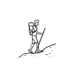 tourist backpacker climbing hand drawn outline vector image