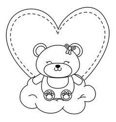 Toy bear sitting on a cloud in black and white vector