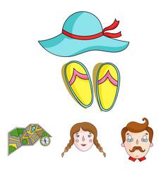 Travel vacation camping map family holiday set vector