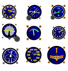 Various aircraft gauges vector
