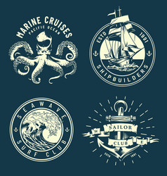 vintage marine and nautical logos vector image