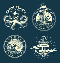 Vintage marine and nautical logos vector