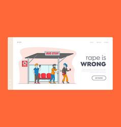 virtual bullying exaction landing page template vector image