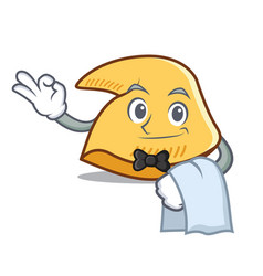 Waiter fortune cookie mascot cartoon vector