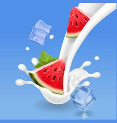 Watermelon in milk splash milkshake watermelon vector