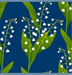 White lily of the valley on indigo blue vector