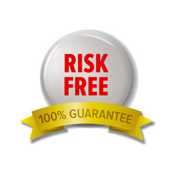 White round label with red text risk free vector