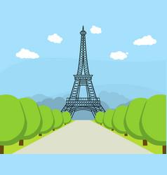 cartoon eiffel tower famous landmark of paris vector image