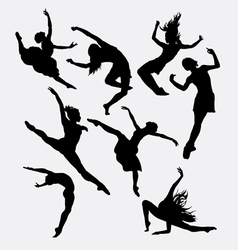 Contemporary dancer pose silhouette vector image vector image