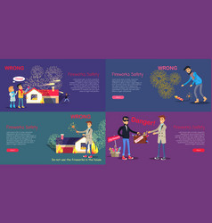 fireworks safety poster of wrong act and danger vector image