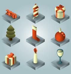 new year gradient isometric icons vector image