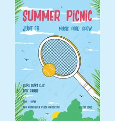 Summer picnic vertical poster trendy retro vector