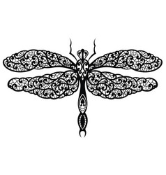 black decorative elegant dragonfly as a lace vector image vector image