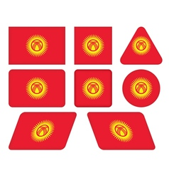buttons with flag of Kyrgyzstan vector image