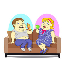 fat people on the couch vector image