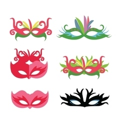 flat face mask set carnival party vector image