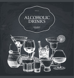 hand drawn alcoholic cocktails vector image