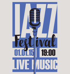 poster for a jazz festival live music with mic vector image