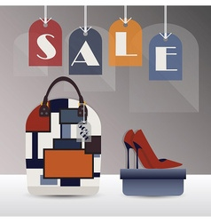 SALE hanging tags with trendy purse and high heel vector image vector image