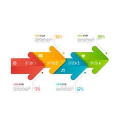timeline chart infographic template with arrows 4 vector image