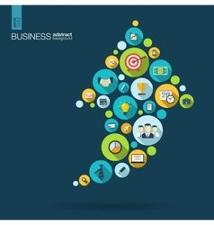 Color circles with flat icons in an arrow up vector image vector image