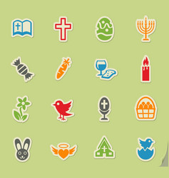 easter icon set vector image