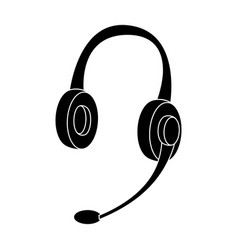 headphones icon in black style isolated on white vector image vector image
