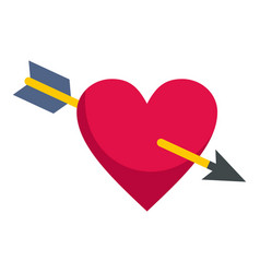 heart pierced by cupid arrow icon isolated vector image