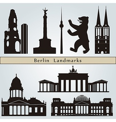 Berlin landmarks and monuments vector image vector image