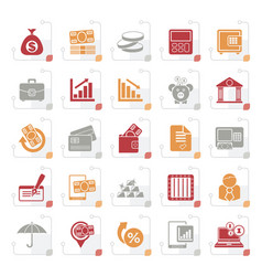 stylized bank business and finance icons vector image vector image