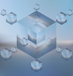 Abstract isometric cubes on blurred sea background vector