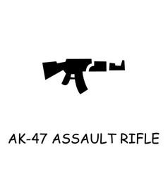 Ak-47 assault rifle flat icon vector
