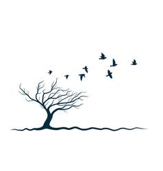 autumn tree with birds vector image