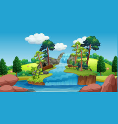 Background scene waterfall with trees around vector