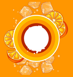 background with oranges ice cubes and soda vector image